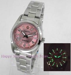 【幸福媽咪】網路購物、門市服務 PROKING 皇冠 日本星辰機芯 防水女錶 粉色 30mm 型號:4027