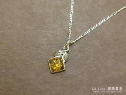 【La luna 銀飾豐華】古典花紋波羅的海天然琥珀純銀墜子(P2450)
