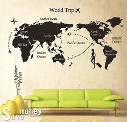 省錢99【JM7225 環球世界】特大款90x60cm第三代壁貼 無痕不傷牆 可重複使用 買就送刮板 水平儀(可刷卡)