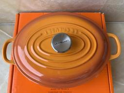 【辣太太亂賣】~Le Creuset橢圓淺底黑琺瑯鑄鐵鍋21cm,鋼頭,珊瑚橘,全新!LC鑄鐵鍋