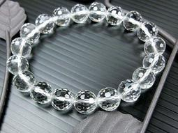 □§Disk的天然水晶§□【激光料】頂級白水晶鑽石切面圓珠手鍊(10mm)FC17
