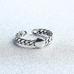 純銀戒指麻花925 純銀開口戒復古 百搭精美情人節生日 女飾品73gp38  米蘭