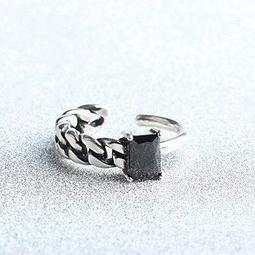 純銀戒指瑪瑙925 純銀開口戒麻花線條復古 情人節生日 女飾品73gp22  米蘭
