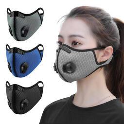 智慧購物王》透氣網雙氣閥可換活性碳濾芯防塵霾機車運動口罩