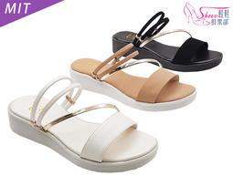 涼鞋【鞋鞋俱樂部】【023-UE633】MIT金色斜帶兩穿厚底涼拖鞋.白/黑/粉