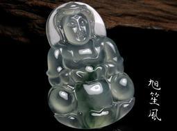 【旭笙風】天然緬甸玉玻璃種放光飄藍花翡翠「觀音菩薩」美艷珍藏 ~