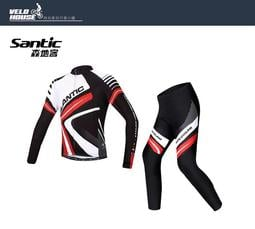★飛輪單車★ Santic MCT044R 男款秋冬刷毛套裝~長袖車衣+九分車褲