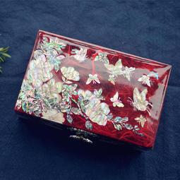 【花開蝴蝶來】 螺鈿鑲貝漆器 戒指手環項鍊吊墬首飾盒 珠寶盒 公主風寶石水晶收納盒 簡約結婚禮物 禮品定製