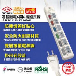 【威電牌 過載斷電6開6插延長線】台灣製造/新安規/延長線/CCK2661【LD061】