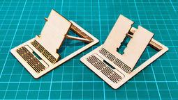 雷雕 木質 錢包卡片折疊手機立架