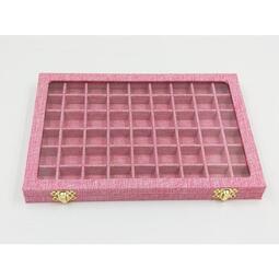 現貨 yo ki麻布大號珠寶箱 美甲飾品展示盒帶玻璃蓋子珠寶小飾品收納盒鉆盒