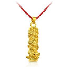 沙金含量為70%實心龍柱不掉色首飾品民族風 黃金吊墜 男款99918K黑繩配墜子