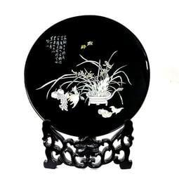 揚州漆器擺件禮品平磨螺鈿28圓臺屏 蘭花 紅底黑底 錦盒包裝