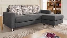 【風禾家具】FCM-194-2@深灰色L型布沙發【台中13400送到家】三人座+腳蹬(可移動) 透氣乳膠皮傢俱 實木椅架