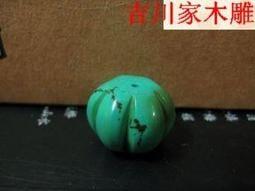【古董收藏】DIY藏式天然老色綠松石桶珠南瓜珠18*13散珠佛珠隔珠頂珠勒子【行運時代】