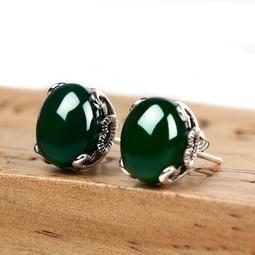 【特惠】925銀天然綠玉髓耳釘女銀紅寶石首飾紅色耳飾生日禮物—行運時代