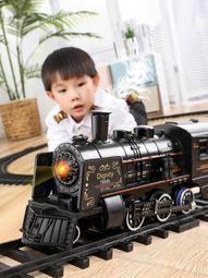 【行運時代】兒童玩具  仿真高鐵停車場兒童電動小火車套裝軌道復古蒸汽火車模型玩具男孩