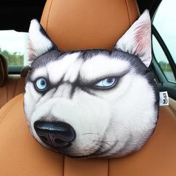 3D哈士奇汽車頭枕車載頸枕座椅枕頭護頸枕卡通車用靠枕車內飾用品