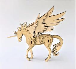 雷雕木質 立體3D拼圖DIY模型 擺飾 禮品 裝飾 天馬 飛馬