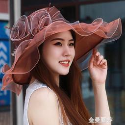 888小舖遮陽帽 帽子女韓版歐根紗透氣雪紡紗帽薄款花朵遮陽太陽