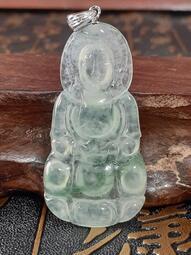 【金龍翡翠】玻璃種放光飄綠花【觀音3】台灣証書<A貨>