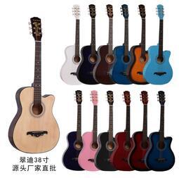 網紅同款吉他38寸民謠初學者入門進階練習成人學生吉他青少年爆款38吋民謠吉他,楓木/實木,木吉他,吉他,烏克麗麗