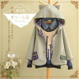 《 夢幻島 》白金天使 日系 森林 甜美 貓耳 連帽 斗篷 毛料 外套 CT10801 現貨