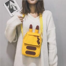 單肩包 日系創意背包 可愛皮卡丘斜挎包 二次元學生帆布小背包 動漫周邊包包