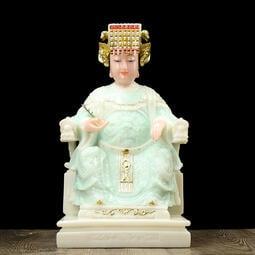 漢白玉媽祖神像 天上聖母 媽祖娘娘 擺件 居家用 供奉海神娘娘 玉石佛像
