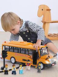 校車大號男孩男童兒童玩具車模型汽車仿真公交車開門寶寶巴士玩具