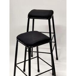 WU030 工業風天然亞麻吧台椅【黑色】(椅面五色可選) 人體工學吧台椅 麻布吧台椅 工業風吧台椅
