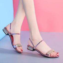 兩穿涼鞋女夏2020新款百搭洋氣女士低跟平底大碼水鉆仙女風涼拖鞋 涼鞋 圓頭涼鞋 尖頭 方頭 夾角 低跟 中跟 高跟