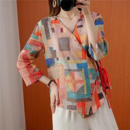 寬松 斜襟文藝復古 棉麻衫大碼L-XL印染撞色系帶v領七分袖開衫【漫莉衣櫥】