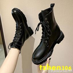 復古高幫黑色帥氣馬丁靴女2020年新款秋季厚底短靴ins英倫機車靴