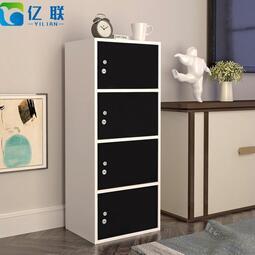 櫃子 簡易柜子儲物柜書柜帶門帶鎖小柜子自由組合兒童簡約收納柜陽臺柜~~果凍