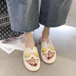 韓版時尚串珠一字拖女2020年夏季新款學生百搭厚底防滑海邊涼拖鞋