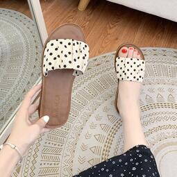 波點涼拖鞋女夏天外穿2020年新款韓版休閑百搭平底可濕水沙灘鞋子